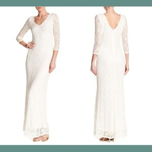 NWT $169 Marina Sequined Lace Gown 8 Ivory